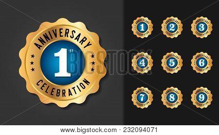Set Of Anniversary Badges. Golden Anniversary Celebration Emblem Design For Booklet, Leaflet, Magazi