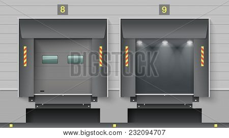 The Cargo Gate Of A Warehouse Or A Logistics Center. Unloading Ramp Trucks. Vector Graphics.
