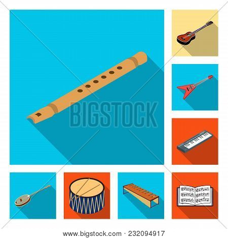 Musical Instrument Flat Icons In Set Collection For Design. String And Wind Instrument Isometric Vec