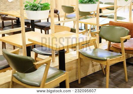 Colorful Leather Chair And Brown Wooden Table Set For Breakfast, Lunch And Dinner - Interior Concept