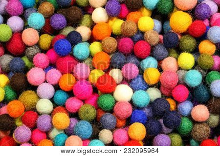 Background Of Many Little Balls Made With Wool