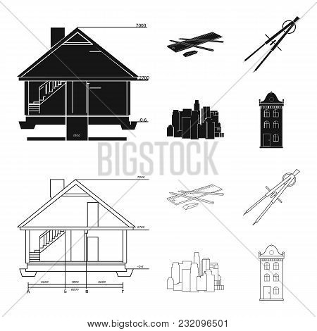Drawing Accessories, Metropolis, House Model. Architecture Set Collection Icons In Black, Outline St