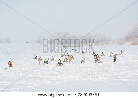 A Lot Of Fishermen For Winter Fishing. Competitions For Winter Fishing.