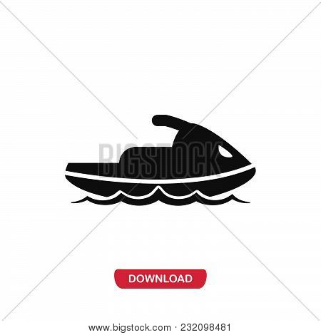 Jet Ski Icon Vector In Modern Flat Style For Web, Graphic And Mobile Design. Jet Ski Icon Vector Iso