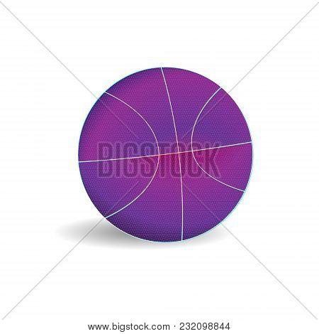 Modern Purple Basketball Ball Template. Vector Sport Illustration.