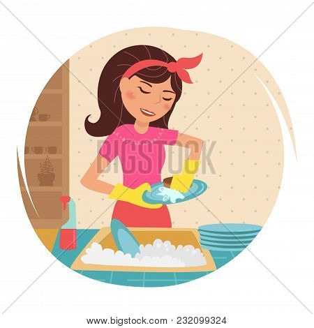 Housewife Washes Dishes. Vector. Cartoon. Isolated Art On White Background. Flat