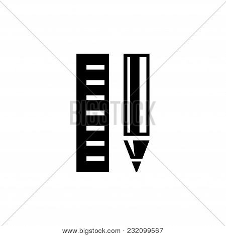 Pencil And Ruler. Flat Vector Icon. Simple Black Symbol On White Background