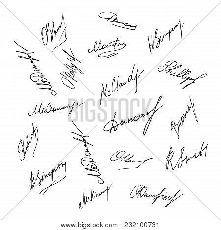 Vector Signature Set. Handwritten Realistic Signature Collection