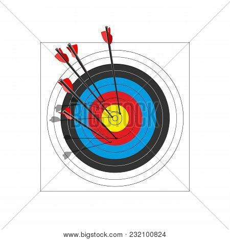 Archery Target With Five Arrows. Vector Illustration