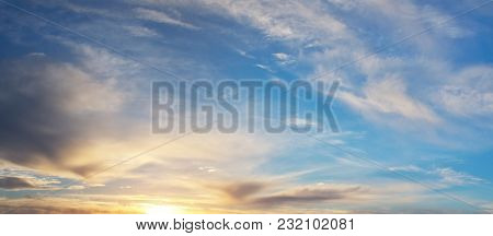 Summer sky background on sunset. Abstract nature composition.