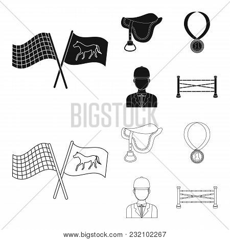 Saddle, Medal, Champion, Winner .hippodrome And Horse Set Collection Icons In Black, Outline Style V