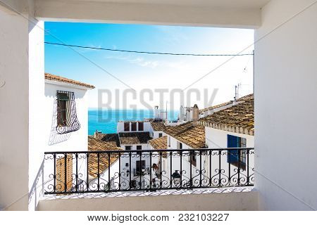 View To White Houses Of Altea Old Town Houses. Altea, Costa Blanca, Spain