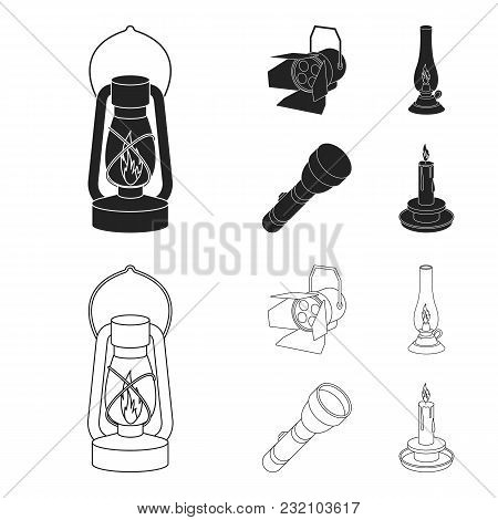 Searchlight, Kerosene Lamp, Candle, Flashlight.light Source Set Collection Icons In Black, Outline S