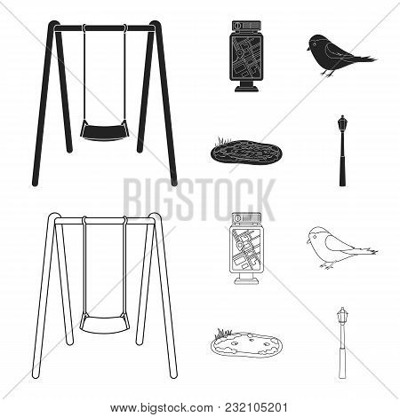 Territory Plan, Bird, Lake, Lighting Pole. Park Set Collection Icons In Black, Outline Style Vector