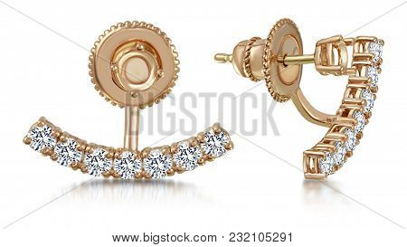 Precious Pair Of Diamond Stud Earrings And Its Style Makes It Beautiful Gift For A Lovely Lady. Gold