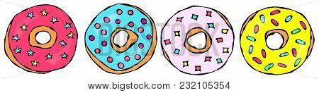 Set Of Sweet Donuts With Pink, Blue, Yellow Sugar Glaze And Stars Confetti Topping. Pastry Shop, Con