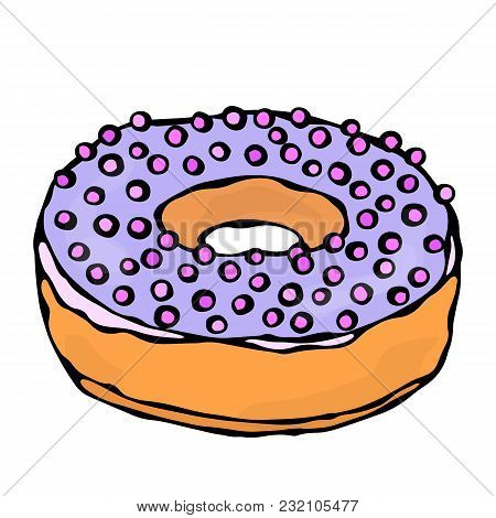 Sweet Donut With Violet Or Lilac Sugar Glaze And Pink Round Confetti Topping. Pastry Shop, Confectio