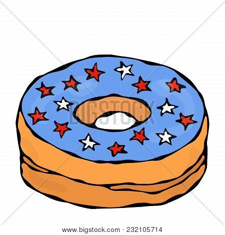 Sweet Donut With Blue Sugar Glaze And American Flag Stars Topping. Pastry Shop, Confectionery Design