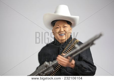 MARCH 16 2018: Caricature of North Korean Supreme Leader Kim Jong Un portrayed as a political cowboy due to his brash risk-taking leadership style.