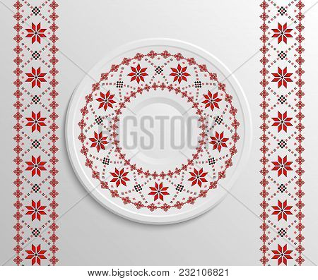 Table Appointments In Restaurant.. Decorative Plate With Round Ethnic Ornament. Ukrainian Style.  Tr