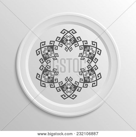 Table Appointments In Restaurant. Decorative Plate With Round Ethnic Ornament.  Antique Grey Pattern