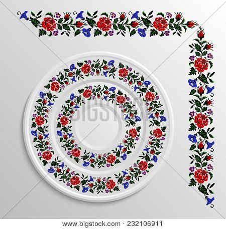 Table Appointments In Restaurant.. Decorative Plate With Round Ethnic Ornament. Ukrainian Style.  Fl