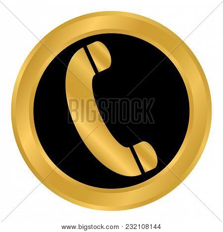Phone Button On White Background. Vector Illustration.