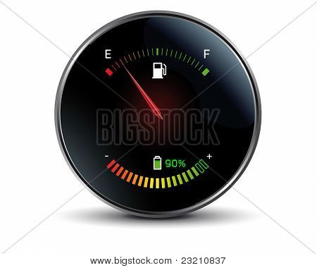 Gasoline versus electricity tachometer of a hybrid car poster