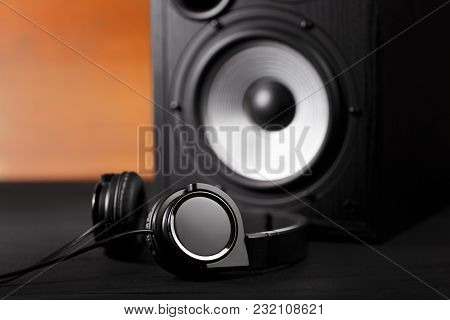 Photo Of Black Music Audio Speaker And Headphones. Close-up