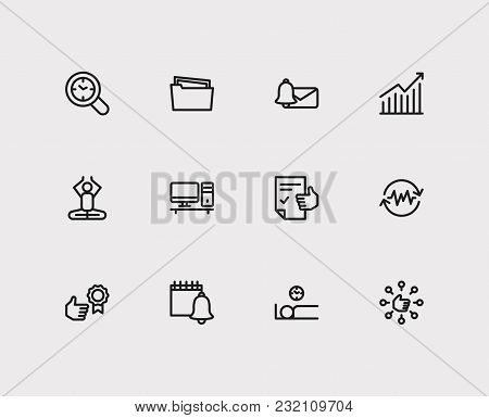 Work Icons Set. Reward Yourself And Work Icons With Audit Time, Efficiency And Group Tasks. Set Of E