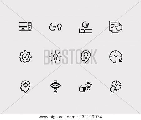 Work Icons Set. Reward Yourself And Work Icons With Personal Computer, Sleep Well And Productive Hou