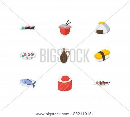 Nutrition Icons Set. Fish And Nutrition Icons With Onigiri, Sake Nigiri And Ikura Roll. Set Of Eleme