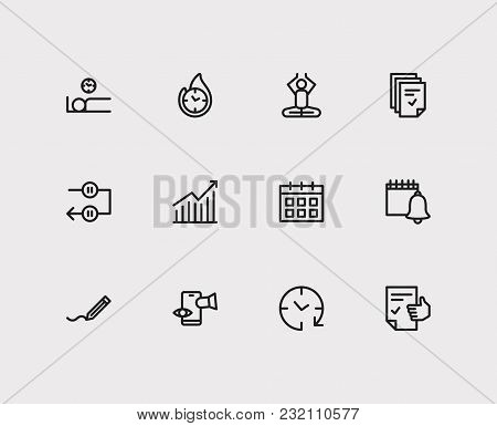 Work Icons Set. Mediate And Work Icons With Wake Up Earlier, Efficiency And Tasks. Set Of Elements I