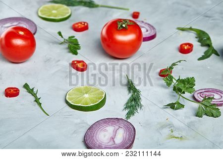 Seamless Pattern With Red Pepper, Onion, Tomatoes, Lime, Dill On White Background, Top View, Close-u