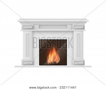 Realistic Detailed 3d Classic Fireplace Isolated On White Background Traditional Decoration Interior