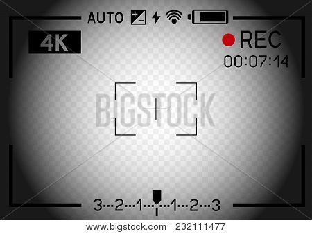 4k Resolution Video Camera Rec Viewfinder Aperture Hole On Transparent Dark Light Background. Record