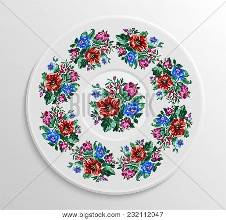 Table Appointments In Restaurant.. Decorative Plate With Round Ethnic Ornament. Ukrainian Style. Vin
