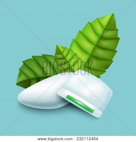Realistic Detailed 3d Mints Chewing Gum With Fresh Green Mint Leaves On A Blue Background. Vector Il