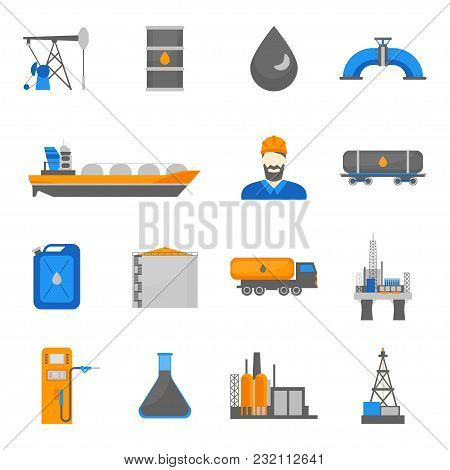 Cartoon Oil Petroleum Processing Icons Set Fuel Technology Industry Elements Concept Flat Design Sty