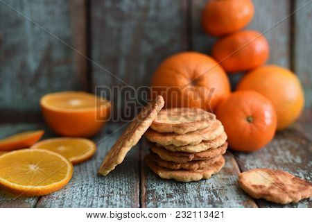 Homemade Imperfect Cookies With Organic Oranges And Clementines On Shabby Blue Wooden Background Clo
