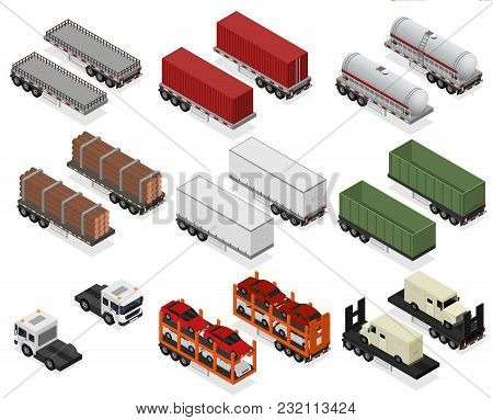 Different Types Trailers 3d Icons Set Isometric View Cargo Transport. Vector Illustration Of Trailer