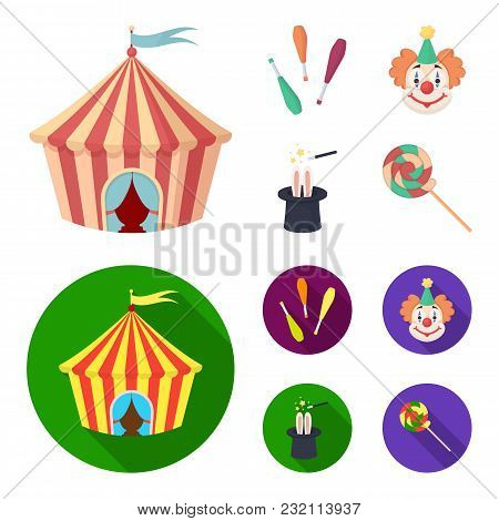 Circus Tent, Juggler Maces, Clown, Magician Hat.circus Set Collection Icons In Cartoon, Flat Style V