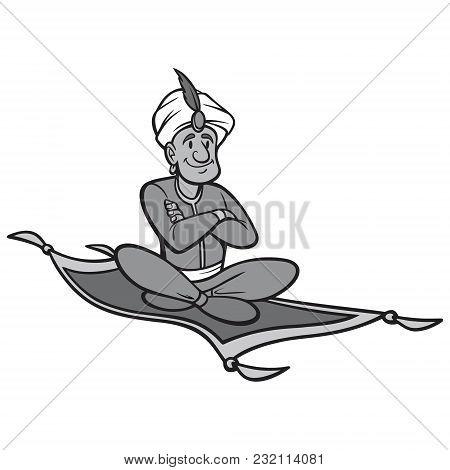 Black And White Magic Carpet Ride - A Vector Cartoon Illustration Of A Man Riding A Magic Carpet.