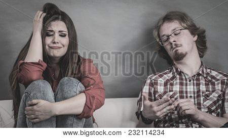 Man And Woman Being Mad At Each Other After Fight. Female Crying, Boy Ignoring. Friendship, Couple B