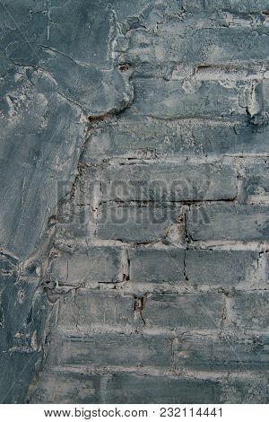Gray Brick Wall Background. Texture Of Painted Brick