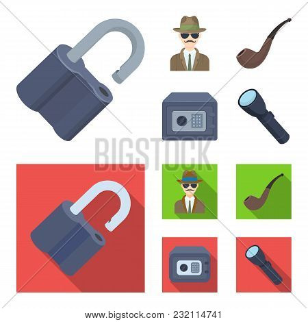 Lock Hacked, Safe, Smoking Pipe, Private Detective.detective Set Collection Icons In Cartoon, Flat S
