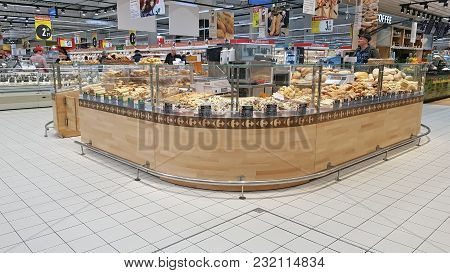 Piatra Neamt, Romania - March 16: Pastry Products  In Supermarket Aisle  In Shopping Center On March