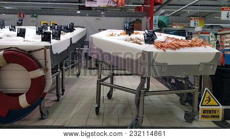 Piatra Neamt, Romania - March 16:fish Stands  In Supermarket Aisle  In Shopping Center On March 16,