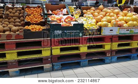 Piatra Neamt, Romania - March 16: Fruits  In Supermarket Aisle  In Shopping Center On March 16, 2018