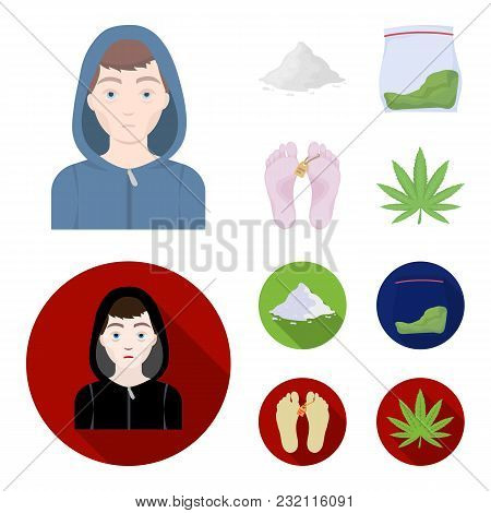 Addict, Cocaine, Marijuana, Corpse.drug Set Collection Icons In Cartoon, Flat Style Vector Symbol St